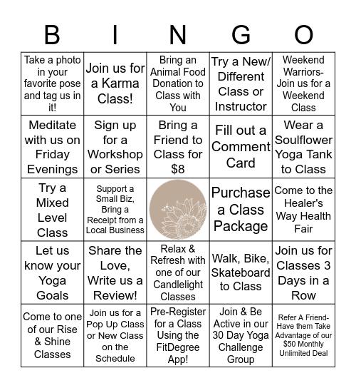 Soulflower Yoga Bingo Card