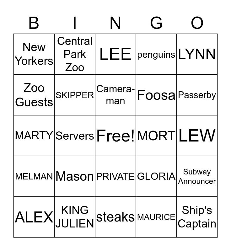 Madagascar Bingo Card