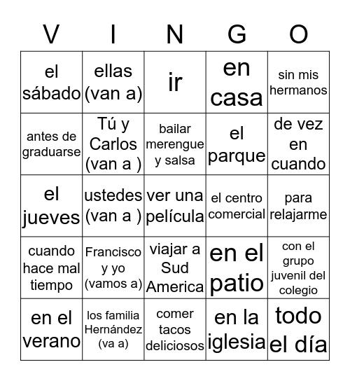 ¡HACIENDO PLANES! Bingo Card