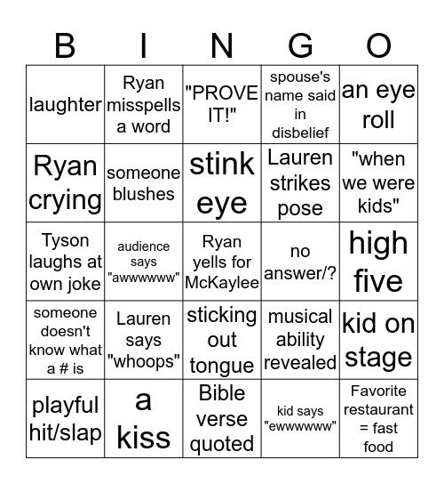 The Wed Game Bingo Card
