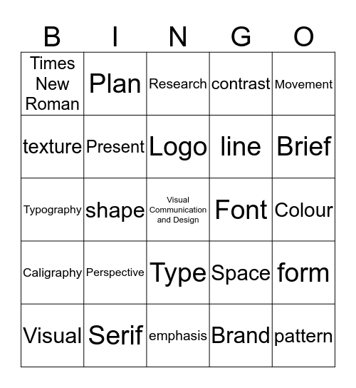 Visual Communication and Design Bingo Card