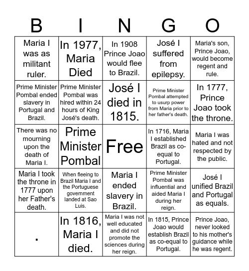 Maria I Bingo Card