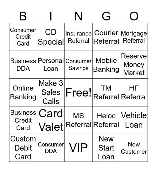 Forcht Bank Bingo Card