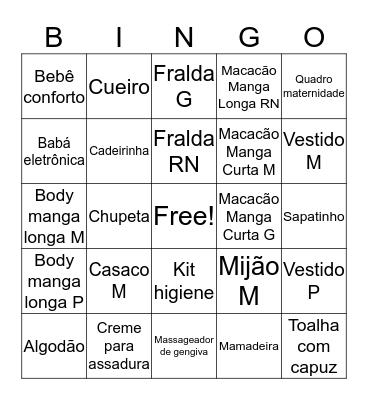 Chá de Bebê da Cecília Bingo Card