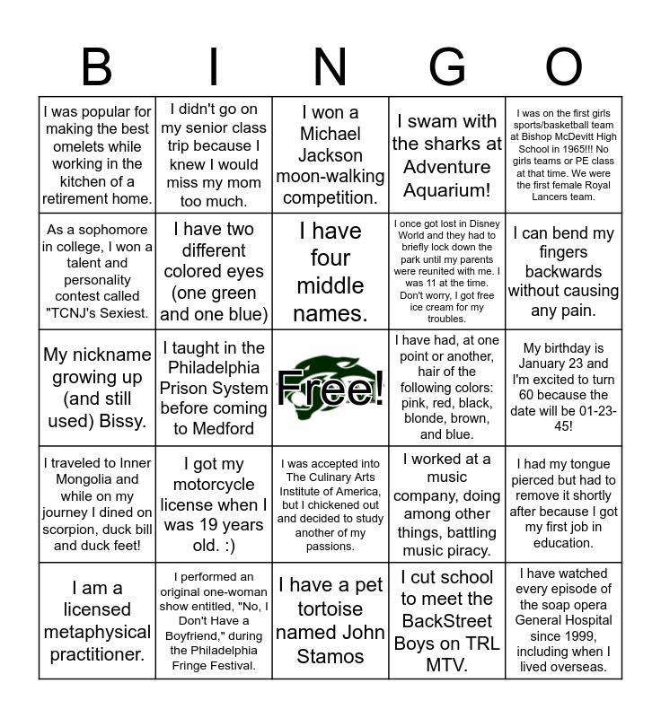Faculty Fun Facts Bingo Card