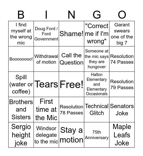 AGM 2019 Bingo Card