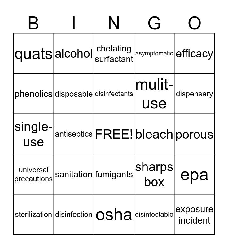 Ch 5 Principles of Prevention Bingo Card