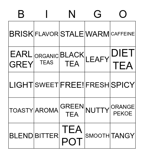 COFFEE , TEA AND SPICE Bingo Card