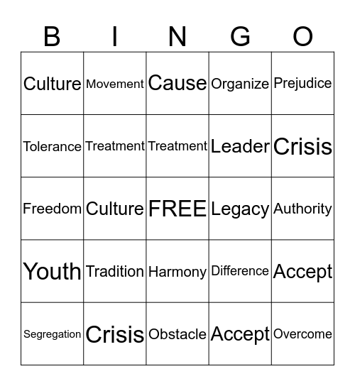Black History Month Vocabulary  Bingo Card