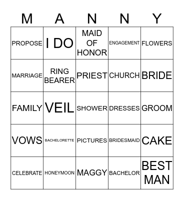 Engagement Party Bingo Card