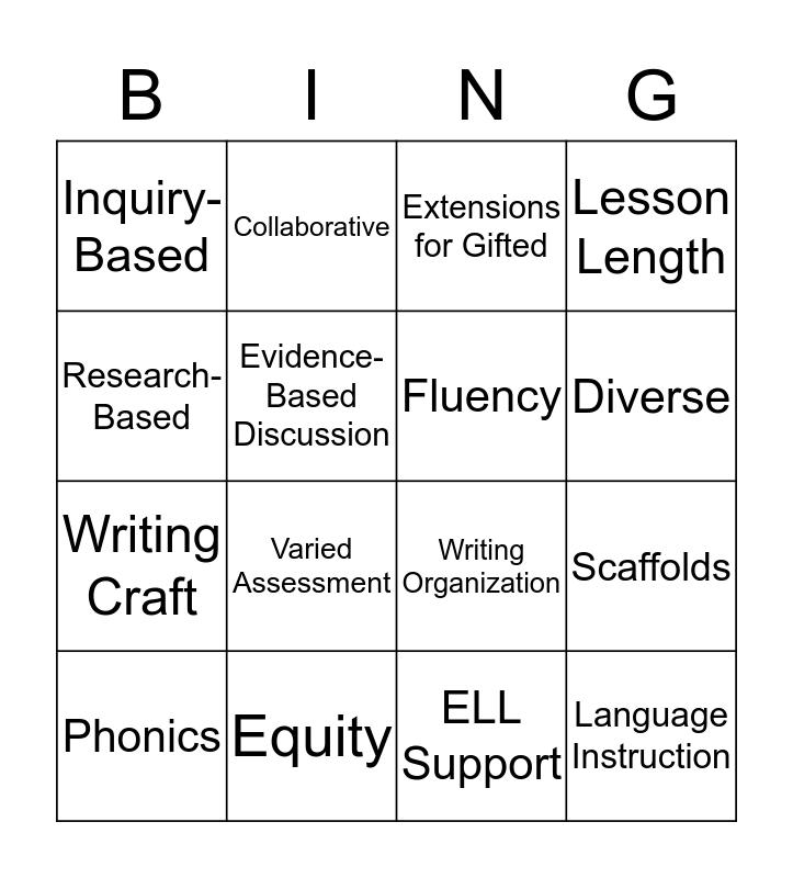 ELA Reviewer Criteria Bingo Card