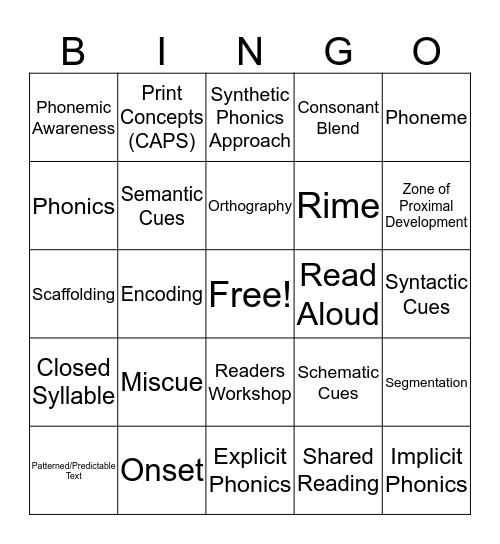 Literacy Bingo 2 Bingo Card