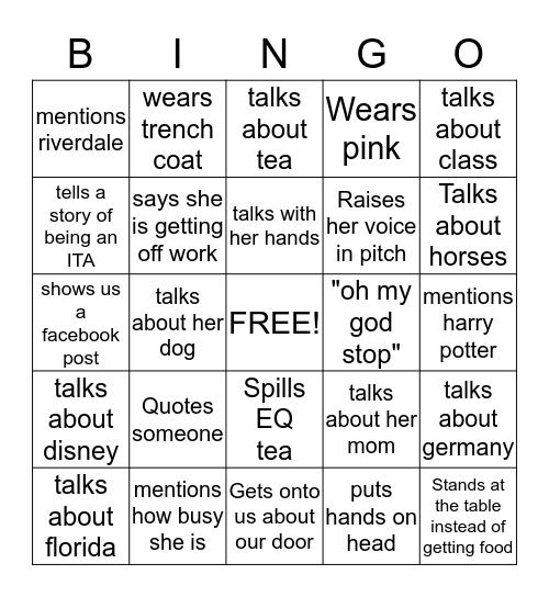 Ali Bingo Card