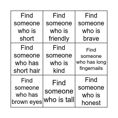 Characteristic Traits Bingo Card