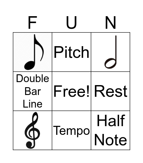 Music Symbols Bingo Card