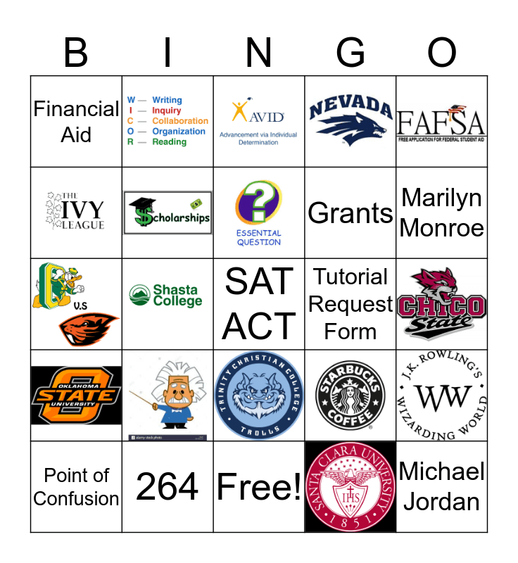 AVID JEOPARDY Bingo Card