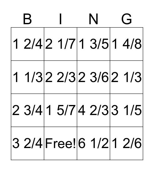 Fraction BINGO! Bingo Card