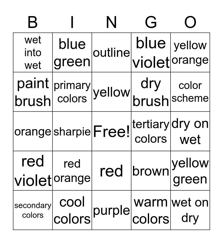 Watercolor Bingo  Bingo Card