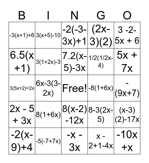distributive property and combining like terms Bingo Card