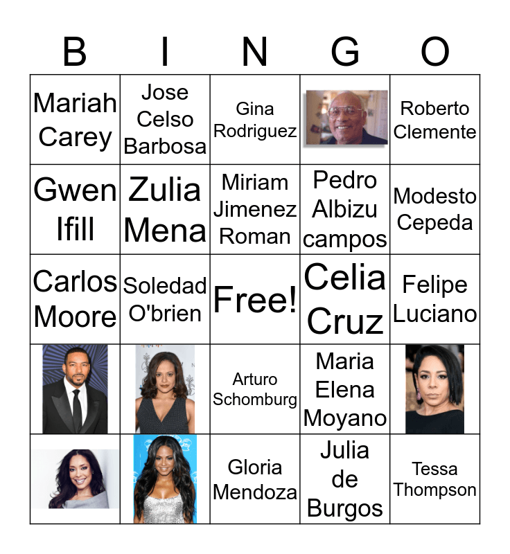 Afro-Latinx Bingo Card