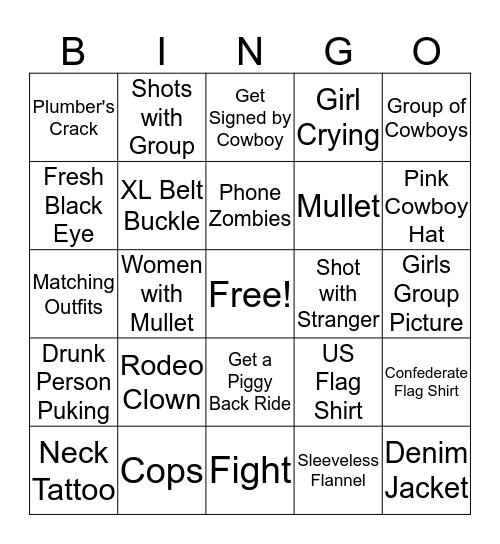 Ladies Night Rodeo Bingo Card