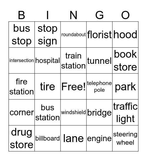 Transportation and Driving! Bingo Card