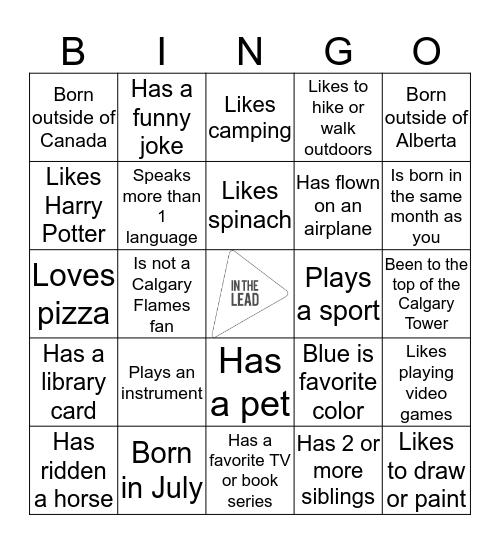 In the Lead Meet Up Bingo Card