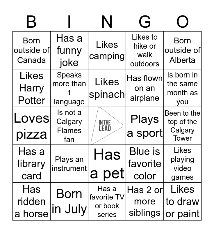 In the Lead Meet Up Bingo Card