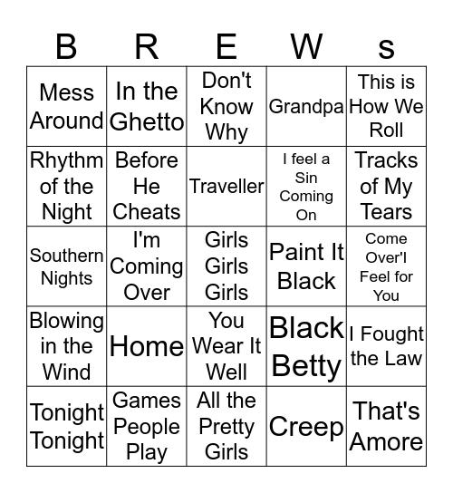 Boondocks Brews, Beats & Bingo 20-9 Bingo Card