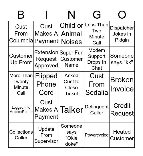 Shut-Off Day Bingo Card