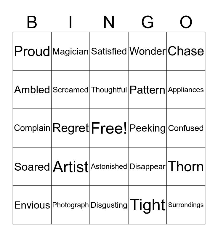 Juno's Bingo Card