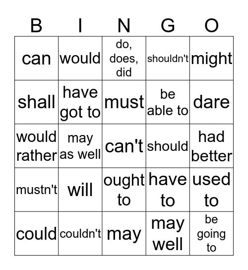 조동사  Bingo Card