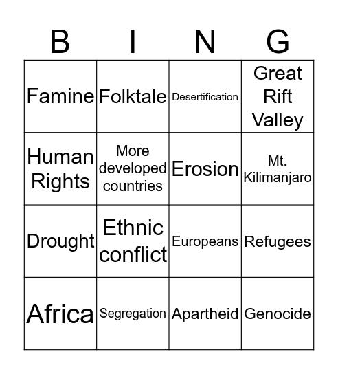 Sub-Saharan Africa Bingo Card