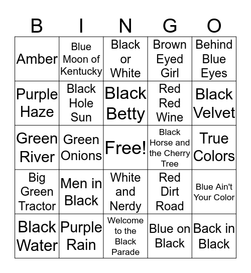 Colorful Songs Bingo Card