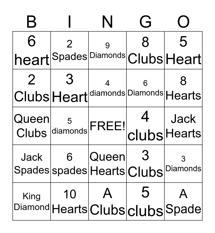 Playing Card Bingo  Bingo Card
