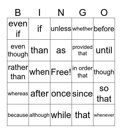 subordinating conjunctions Bingo Card