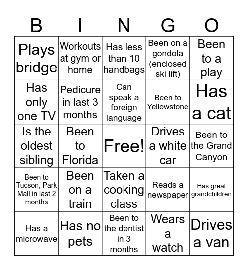 BUSY LADIES!!!! Bingo Card