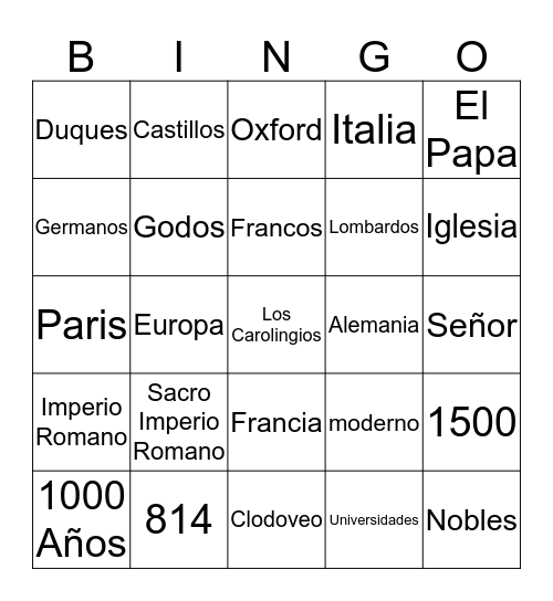 La Edad Media Video Bingo Card