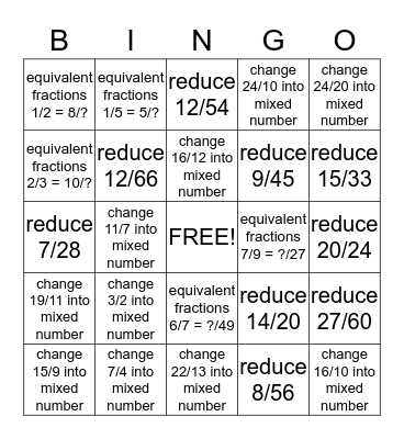 fractions #1 Bingo Card