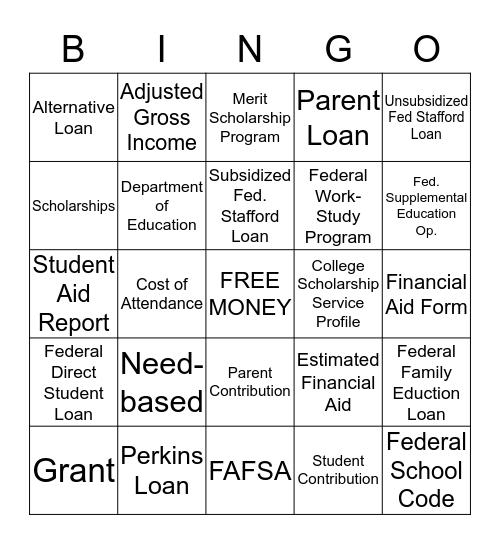 Financial Aid Bingo Card