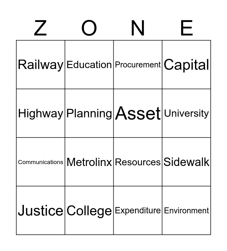 Infrastructure Zone Bingo Card