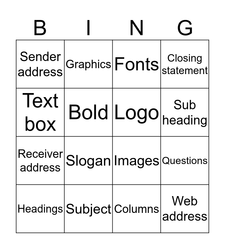 Features of Text  Bingo Card
