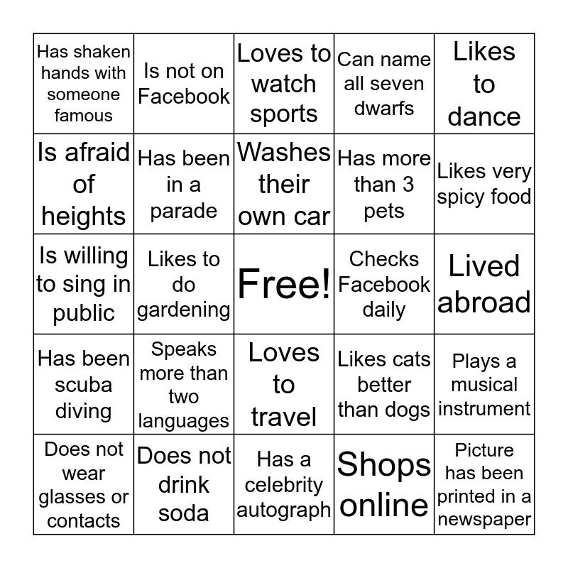 Bingo Trivia Bingo Card