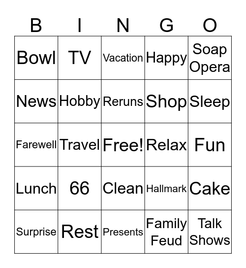 Carolyn Retirement/Birthday Bingo Card