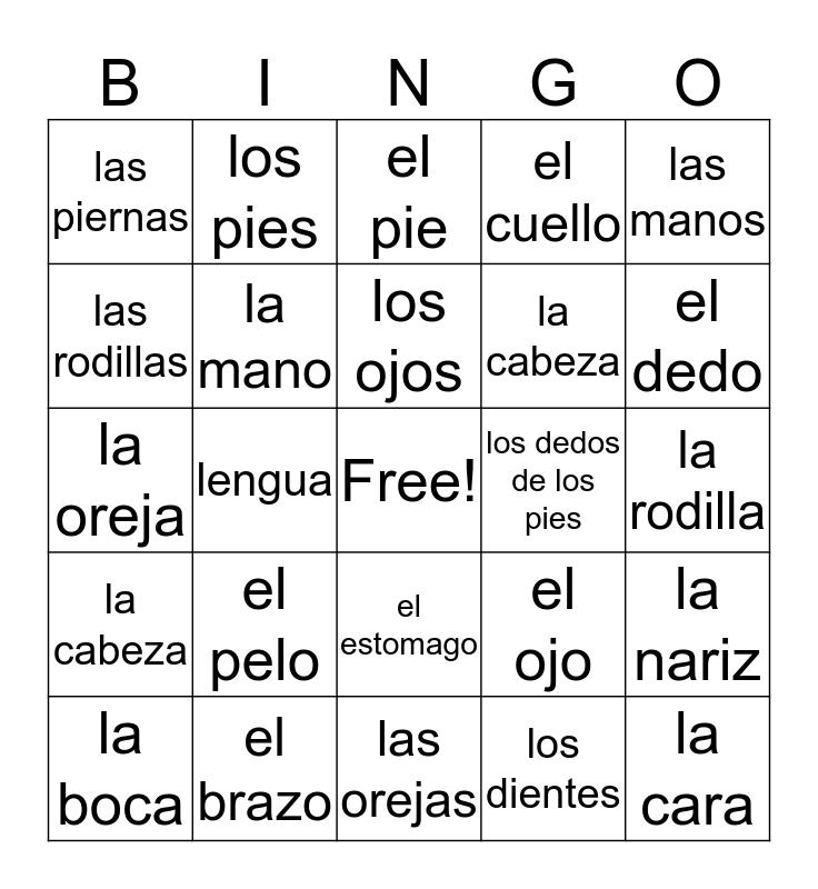 Las Partes Del Cuerpo Bingo Card