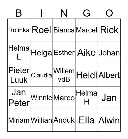 Ooievaarsweg Nieuwjaarsbingo 2014 Bingo Card