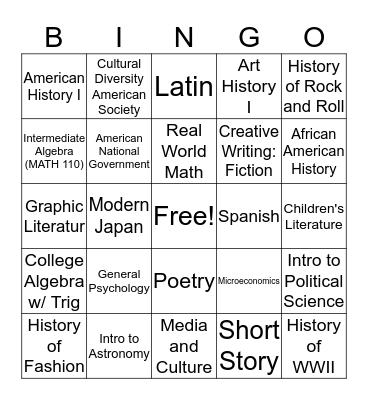 Liberal Arts Bingo! Bingo Card