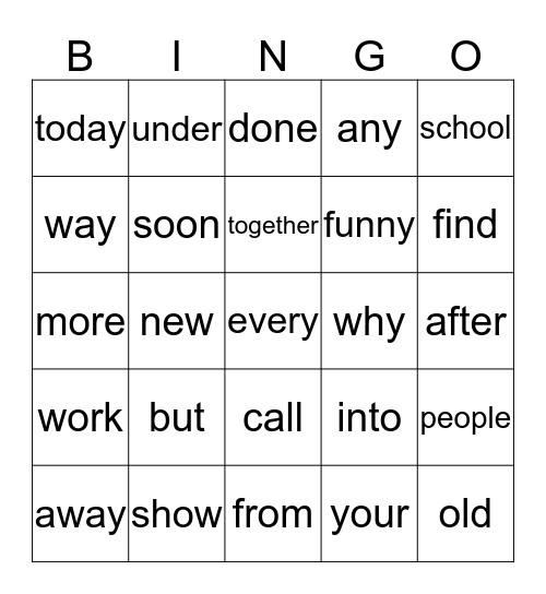 Orange Words Bingo Card