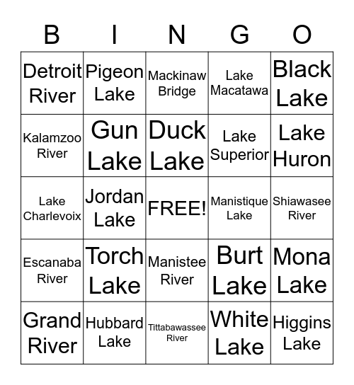 Michigan Lakes & Rivers Bingo Card