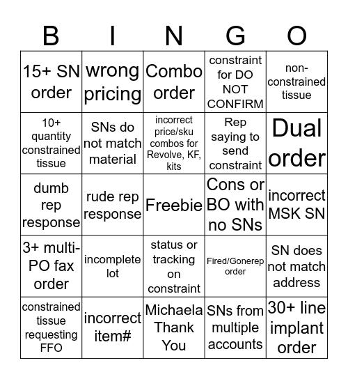PRMOrder Bingo Card